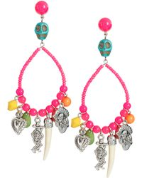 ASOS Collection Asos Skull and Mexican Charm Beaded Drop Earrings - Lyst