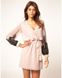 ASOS Collection Asos Mini Dress with Lace Print pink - Lyst