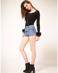 ASOS Collection Asos High Waisted Denim Shorts - Lyst
