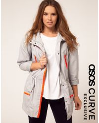 Asos Curve Exclusive Parka with Neon Zip - Lyst