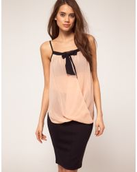 TFNC Tfnc Top Bow Front Gathered Cami pink - Lyst