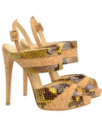 Alexandre Birman Painted Python And Cork Sandals - Lyst