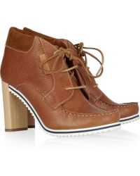 See By Chloé Wooden-heeled Leather Ankle Boots - Lyst