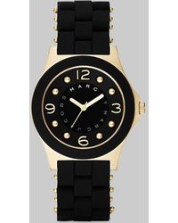Marc By Marc Jacobs Pelly Goldtone Ip Stainless Steel & Silicone Bracelet Watch - Lyst