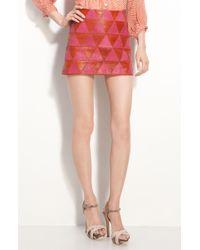 Kelly Wearstler Iraz Argyle Leather Miniskirt red - Lyst