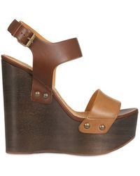 Lanvin 145mm Leather Buckled Wedges - Lyst