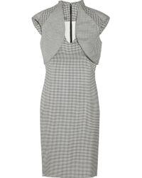 Alexander McQueen Houndstooth Silk And Wool-Blend Dress - Lyst