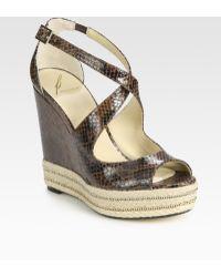 B Brian Atwood Dekoda Snake-print Leather Espadrille Wedge Sandals - Lyst