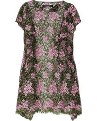 Junya Watanabe Floral Embroidered Tulle Dress - Lyst