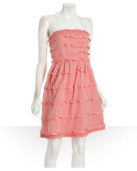 Marc By Marc Jacobs Salmon Cotton Tiered Strapless Dea Dress - Lyst