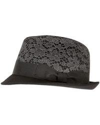 Dolce & Gabbana Wool Felt with Lace Appliqué Hat - Lyst