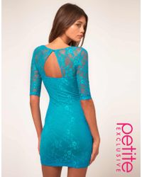 ASOS Collection Asos Petite Exclusive Lace Dress with Cut Out Back Detail blue - Lyst