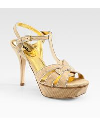 Saint Laurent Snake-print Suede and Metallic Leather Platform Sandals - Lyst