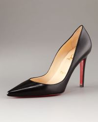 Christian Louboutin Pointed-Toe Black Leather Pump - Lyst