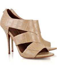 Elizabeth And James Latch Crocodile-effect Leather Sandals - Lyst
