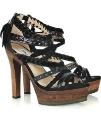 Jimmy Choo Vintage Mam Suede and Leather Sandals - Lyst