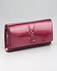 Saint Laurent Belle Du Jour Patent Leather Clutch - Lyst