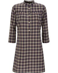 A.P.C. - Red and Blue Check Shirt Dress - Lyst