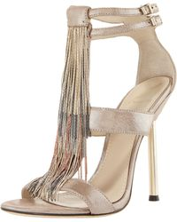B Brian Atwood Chain-fringe T-strap Sandal - Lyst