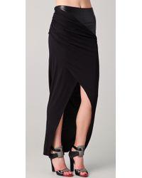 David Lerner - Maxi Tulip Skirt with Leather Waist Insert in Blackblack - Lyst