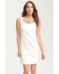 Laundry By Shelli Segal Beaded Collar Jacquard Dress - Lyst