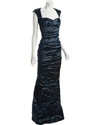 Nicole Miller Teal Metallic Ruched Fishtail Evening Gown - Lyst