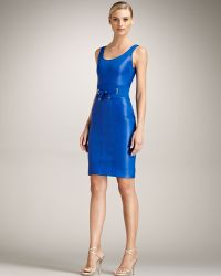 Versace Tie-waist Leather Dress - Lyst