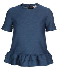 Charles Anastase Woven Cotton Top with Layered Peplum - Lyst