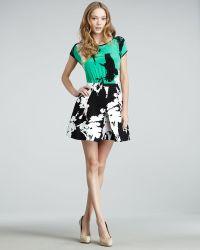 Tibi Easy Bird-print Combo Dress - Lyst