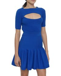 McQ by Alexander McQueen Knitted Dress with Cut-out blue - Lyst