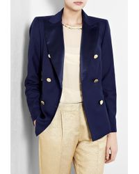 By Malene Birger Indigo Karam Double Breasted Blazer with Gold Buttons - Lyst
