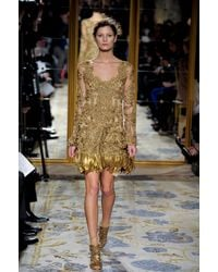 Marchesa Fall 2012 Gold Sandal Heels - Lyst