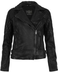 AllSaints Walker Leather Jacket - Lyst