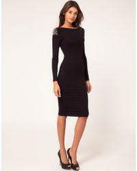 ASOS Collection  Bodycon Dress with Embellished Shoulder black - Lyst