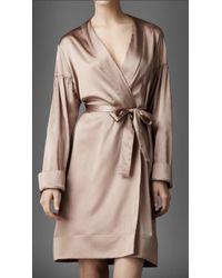 Burberry - Stretch Silk Dressing Gown - Lyst