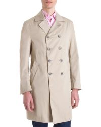 Barneys New York Double Breasted Trench Coat - Lyst