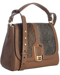 Fendi Brown Colorblock Calf Hair and Leather Anna Shoulder Bag - Lyst