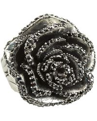 King Baby Studio Rose Ring with Pave Black Cz - Lyst