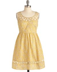 ModCloth Lemon Lattice Dress - Lyst