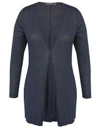 Sandwich - Longline Knit Cardigan, Dark Blue - Lyst