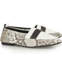 Newbark Camilla Snake-print and Perforated Leather Flats - Lyst