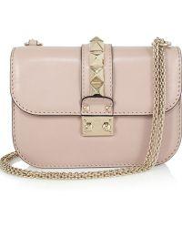 Valentino Stud-embellished Leather Shoulder Bag - Lyst