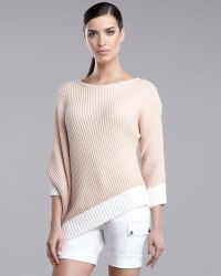 St. John Yellow Label   Asymmetric-hem Colorblock Sweater   Lyst