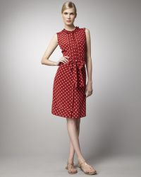 Tory Burch Graham Polka-dot Silk Dress - Lyst