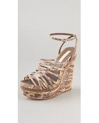 BCBGMAXAZRIA - Laurol Embossed Wedge Sandals - Lyst