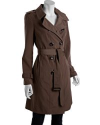 Calvin Klein Truffle Brown Pleated Back Water Resistant Trench brown - Lyst