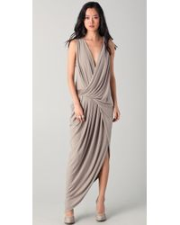 Doo. Ri Sleeveless Gown with Leather Trim - Lyst