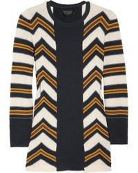 Burberry Prorsum Striped Knitted Cotton and Silk-blend Sweater - Lyst