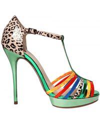 Ernesto Esposito 120mm Patent Patchwork Sandals - Lyst