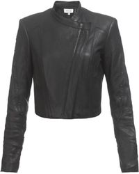 Helmut Lang Cropped Leather Jacket - Lyst